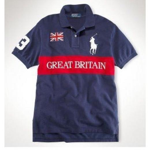 Camisa Polo Azul Escuro Great Britain Big Pony Ralph Lauren - Cod 0053